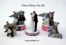 Political Wedding Cake Tops / Political Themed Cake Toppers featuring Democrat Donkey and Republican Elephant