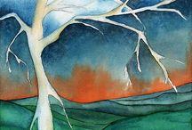 Árboles pintados en acuarela / Trabajos realizados por  los alumnos del Taller de Acuarela Tanta Tinta, conducido por el profesor Vladimir Merchensky Arias.