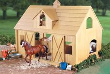 """Wooden Stable Toy / Ideas for building toy stables for children based on 6"""" Schliech horses."""
