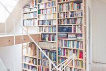 Bookshelves/staircases