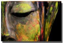 Modern colorful Buddha canvas