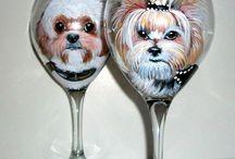 pet portraits on wine glasses