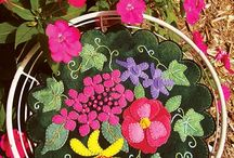 Wool Applique Candle Mats / Patterns and kits for wool Applique candle mats by WoolyLady