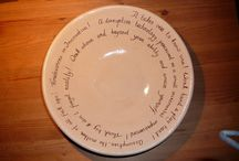 Ceramic dish with handwritten text