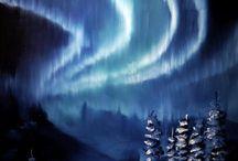 Nordlysmalerier. / Billedkunstner med foretaket Hildes Galleri