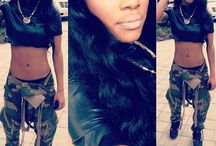 Army Fatigue Pants With Black Velour Top