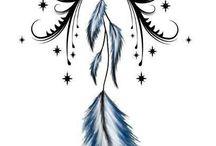 Pentagram Moon Cross Feathers