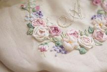 シルクのリボン刺繍