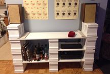 What to do with the cinder block shelves on my desk for my standing desk.