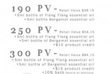 Monthly Promos / Young Living gives away monthly promotions when you order 190 PV, 250 PV, and 300 PV worth of products.