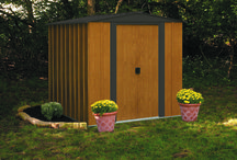 Arrow Woodlake Series Steel Storage Sheds / The look of wood grain but the strength of steel.  The Woodlake Series steel storage sheds are an excellent economical solution for your backyard.  The Woodlake comes in 3 sizes 6' x 5' , 8' x 6' & 10' x 8'.