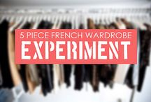 Capsule Wardrobe / 5 Piece French Wardrobe concept: Every season (i.e. 6 months, spring/summer and fall/winter) only purchase 5 wardrobe pieces.10 pieces total for the year. Fabric quality is more important that quantity.  Basics/uniforms don't count and are always allowed. Accessories don't count, unless they are pricier than usual. Shoes DO count. Socks and underwear don't count.  Everything else counts.