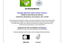 Free Energy Workshop in Greensboro! / Come out on March 24 to the Kathleen Clay Edwards Library at 6:30 p.m. to learn about plenty of energy efficiency strategies that you can apply in your own home! You'll also receive a free energy kit that contains a CFL bulb, low-flow showerhead and more! / by E-Conservation Home Energy