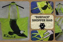"""""""SURFACE"""" - Kiteshopper / Grande borsa shopper, leggerissima, piegata si riduce a un pugno. Chiusura con cerniera, tasca interna."""