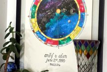 Custom Astrology Charts / A collection of beautiful, hand-illuminated natal charts and wedding charts from Mystick Physick.