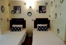 Family Suite- Rock N' Roll Theme / 4 adults, 2 children maximum - 2 double, 2 single beds. Partial oceanview guestroom.