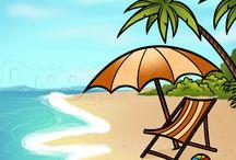 draw beach scenes