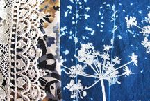 Summer Night Garden / Mixed media, textile art work and cyanotype printing by Diana Taylor at Velvet Moth Studio