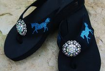 Western Flip Flops / Bling Concho Flip Flops! Conchos and glitter designs can be custom designed in many colors. www.pamperedcowgirl.com  / by Pampered Cowgirl
