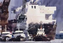 Målning båt/hav