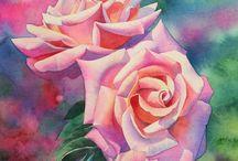 Roser / Akvarell