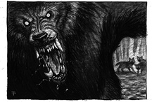 Werewolves / I loooove werewolves.  I've been obsessed with them since High School, and they are my favorite subjects to paint/draw!  I am partial to werewolves that are recognizable as wolves, or wolf-like.  No mutant ape-rats for me!  This is a collection of some of my favorite werewolf art and images.