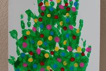 Christmas tree hand prints