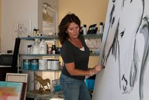 Donna B At Work Painting Horses, Equine Artist