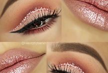 glittery eyes and lips