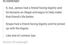 Snape vs James / I'm on James side but I still respect everyone's opinion. Also I agree that in the end Snape was a good person, unfortunately this doesn't account for his other actions. (Same with James)