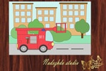 "Clip Art Fire truck / NADEZHDA STUDIO Graphic design Studio ""Fresh idea"""