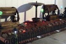 Brick Edging with solar lights, / Plastic brick edging with solar lights, made in USA