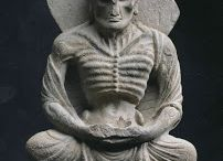 Gandhara Siddhartha Fasting / In his quest for enlightenment, Siddhartha stripped off his princely finery, and submitted himself to years of grueling deprivations. The sculpture shows him at the end of that, skin and bones, barely human. Very soon he will discover the wisdom of the middle, moderate way to salvation. He'll have a bite, gain a little weight, make the world a happier place.