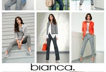 """BIANCA / The motto of BIANCA's new season collection is """"let life surprise you"""" the collection is filled with joy, energy and surprise.  Stripes, multicoloured or tonal – linear or hand crafted is an important styling element for this coming season.  Floral prints in various conceptions, graphic, minimal and hand scribbles. Soft denim, mellow suede, tonal jacquards and jerseys and a new mesh application add to the beauty of this fab collection. We love it and know you will too."""