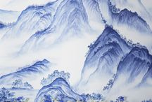 hand-painted wallpaper  in Delft design colours / A Thousand Li of Rivers and Mountains' design in Delft design colours on Bleached White dyed silk @ NSR HANDCRAFTS