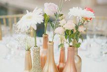 dekorace, stůl, květiny