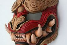Oni masks / An Oni is a Yōkai (monstrous spirit) in Shinto/Japanese mythology.    They're basically the equivalent of a demon.