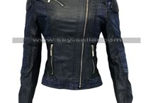 Women Slimfit Leather Denim Biker Jacket / Buy this stylish Asymmetrical Women Motorcycle Jacket at most affordable price from Sky-Seller and avail free Shipping.