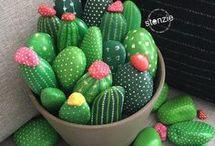 Maceta con cactus de piedras
