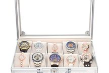 Premium Aluminum Watch Storage Box Display Case Organizer Glass Top 10 Unit