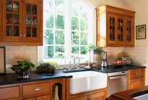 Decorate kitchen that has wooden cupboards