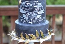 Inspiration - Rustic Chalk Board Cakes
