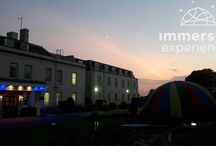 Immersive Experiences @ Hilton Avisford Park / Our 360 cinemas bring together beautiful outdoor venues, mixed with art, music and dance. Maybe you want an outdoor venue, without huge costs. Large 10m outdoor marquees, start from just £1500 a day. If you're looking for entertainment at birthday, anniversary or party, you can use state-of-the-art 360° projection domes play almost anything, from Dinosaurs & Space to Pink Floyd! Cost start from just £300. All systems can be integrated with your content, making personal experiences no added costs