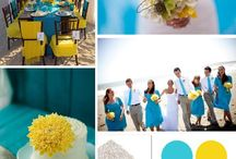 Yellow & Turquoise / Yellow & turquoise wedding theme with natural confetti ideas from The confetti cone company www.confetti-cones.co.uk
