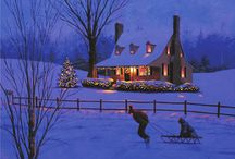 """Farmhouse Christmas / """"Frosty days and ice-still nights, Fir trees trimmed with tiny lights, Sound of sleigh bells in the snow, that was Christmas long ago. Tykes on sleds, shouts of glee, Icy-window filigree, Sugarplums and candle glow, Part of Christmas long ago... Footsteps stealthy on the stair, Sweet-voiced carols in the air, Stocking hanging in a row, Tell of Christmas long ago... Starry nights so still and blue, Good friends calling out to you, Life,so fast, will always slow, For dreams of Christmas long ago"""" / by Tracey Devlin"""