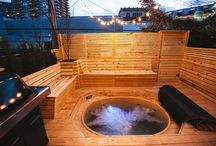 Urban Cedar Hot Tub / One of the things customers love about our cedar hot tub kits is that they can be integrated into almost any design, according to the customer's own taste and space. This customer made their Canadian Hot Tub the centre piece of their small backyard, transforming it into a year around space for relaxation and entertaining. Urban living at its finest!