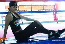 Photoshoot de Caro Chica Hooters Coapa / Pre grabación de la cápsula de CrossFit para PXTV #RetoHootersMéxicoVsPXTV en el Golden Boy Gym.