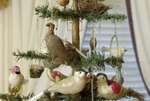 Antique Decorated Feather and Evergreen Christmas Trees / Antique Decorated Feather and Evergreen Christmas Trees