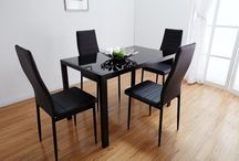 Black Dining Room Set Table Glass And 4 Chairs Home Furniture Christmas Gift