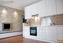 Kuchnia / Kuchnia - podoba mi się:  * biała, lakierowana z połyskiem nowoczesna zabudowa * zabudowę kuchenną wolała bym z uchwytami * drewniany lub czarny blat * drewniana podłoga w kuchni * szare lub białe ściany * białe, szare lub wyglądające jak drewno płytki